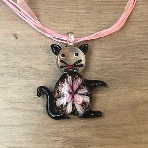 New Murano like glass pink/purple cat necklace